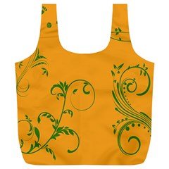 Nature Leaf Green Orange Full Print Recycle Bags (L)