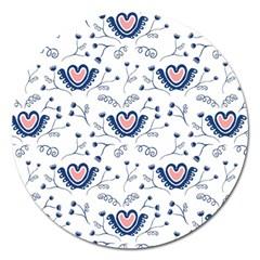 Heart Love Valentine Flower Floral Purple Magnet 5  (round)