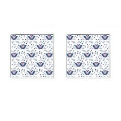 Heart Love Valentine Flower Floral Purple Cufflinks (square)