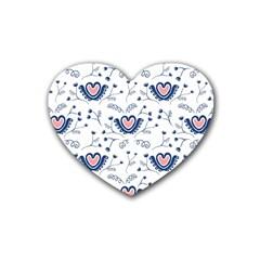 Heart Love Valentine Flower Floral Purple Rubber Coaster (Heart)