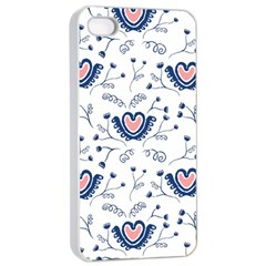 Heart Love Valentine Flower Floral Purple Apple iPhone 4/4s Seamless Case (White)