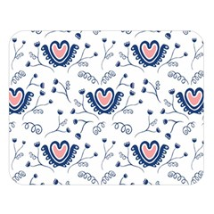 Heart Love Valentine Flower Floral Purple Double Sided Flano Blanket (Large)