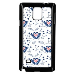 Heart Love Valentine Flower Floral Purple Samsung Galaxy Note 4 Case (Black)