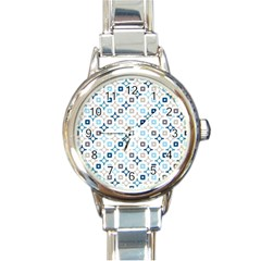 Plaid Line Chevron Wave Blue Grey Circle Round Italian Charm Watch