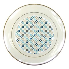 Plaid Line Chevron Wave Blue Grey Circle Porcelain Plates
