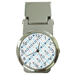 Plaid Line Chevron Wave Blue Grey Circle Money Clip Watches