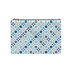 Plaid Line Chevron Wave Blue Grey Circle Cosmetic Bag (Medium)