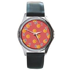 Oranges Lime Fruit Red Circle Round Metal Watch