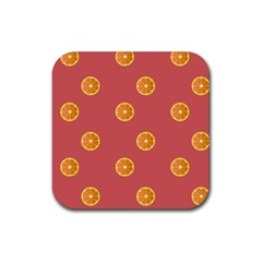 Oranges Lime Fruit Red Circle Rubber Square Coaster (4 pack)