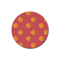 Oranges Lime Fruit Red Circle Rubber Coaster (round)