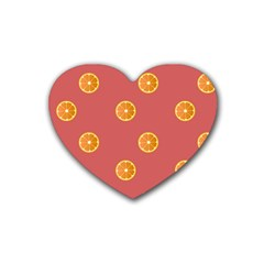 Oranges Lime Fruit Red Circle Rubber Coaster (Heart)