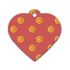 Oranges Lime Fruit Red Circle Dog Tag Heart (one Side)