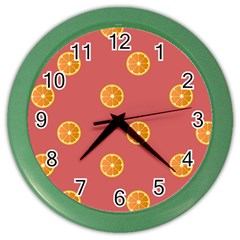 Oranges Lime Fruit Red Circle Color Wall Clocks