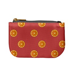 Oranges Lime Fruit Red Circle Mini Coin Purses