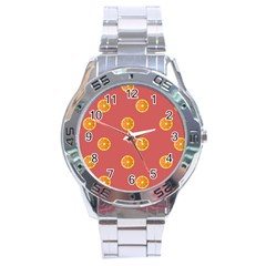 Oranges Lime Fruit Red Circle Stainless Steel Analogue Watch
