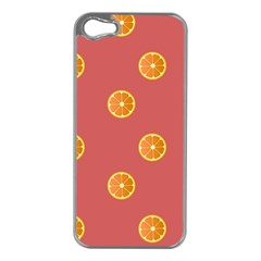 Oranges Lime Fruit Red Circle Apple iPhone 5 Case (Silver)