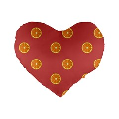 Oranges Lime Fruit Red Circle Standard 16  Premium Flano Heart Shape Cushions