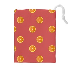 Oranges Lime Fruit Red Circle Drawstring Pouches (Extra Large)