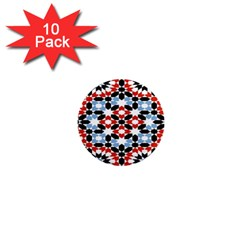 Oriental Star Plaid Triangle Red Black Blue White 1  Mini Magnet (10 Pack)
