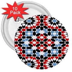 Oriental Star Plaid Triangle Red Black Blue White 3  Buttons (10 pack)