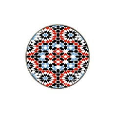 Oriental Star Plaid Triangle Red Black Blue White Hat Clip Ball Marker (4 Pack)