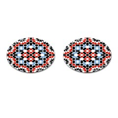 Oriental Star Plaid Triangle Red Black Blue White Cufflinks (Oval)