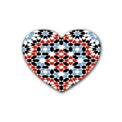 Oriental Star Plaid Triangle Red Black Blue White Heart Coaster (4 Pack)
