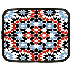 Oriental Star Plaid Triangle Red Black Blue White Netbook Case (Large)