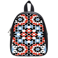 Oriental Star Plaid Triangle Red Black Blue White School Bags (small)