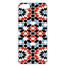 Oriental Star Plaid Triangle Red Black Blue White Apple iPhone 5 Seamless Case (White)