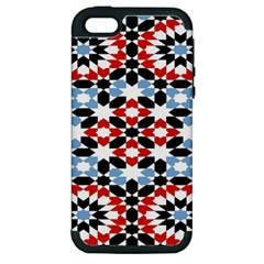 Oriental Star Plaid Triangle Red Black Blue White Apple iPhone 5 Hardshell Case (PC+Silicone)