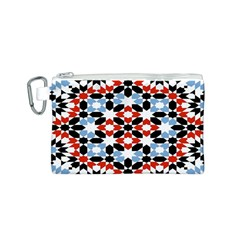 Oriental Star Plaid Triangle Red Black Blue White Canvas Cosmetic Bag (S)