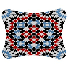 Oriental Star Plaid Triangle Red Black Blue White Jigsaw Puzzle Photo Stand (Bow)