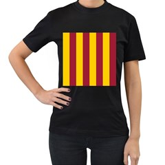Red Yellow Flag Women s T-Shirt (Black) (Two Sided)