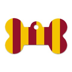 Red Yellow Flag Dog Tag Bone (Two Sides)