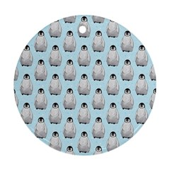 Penguin Animals Ice Snow Blue Cool Round Ornament (Two Sides)