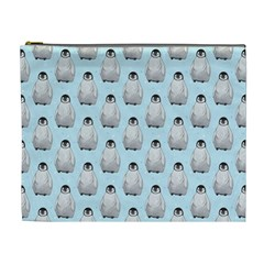 Penguin Animals Ice Snow Blue Cool Cosmetic Bag (XL)