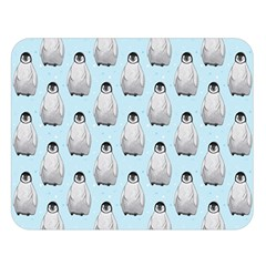 Penguin Animals Ice Snow Blue Cool Double Sided Flano Blanket (Large)