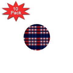 Plaid Red White Blue 1  Mini Buttons (10 pack)