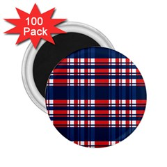 Plaid Red White Blue 2.25  Magnets (100 pack)