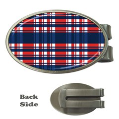 Plaid Red White Blue Money Clips (Oval)