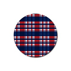 Plaid Red White Blue Rubber Coaster (round)