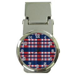 Plaid Red White Blue Money Clip Watches