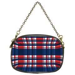 Plaid Red White Blue Chain Purses (One Side)