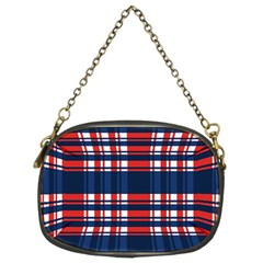 Plaid Red White Blue Chain Purses (Two Sides)