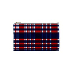 Plaid Red White Blue Cosmetic Bag (Small)