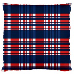 Plaid Red White Blue Large Cushion Case (two Sides)