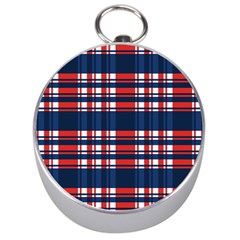 Plaid Red White Blue Silver Compasses