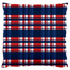 Plaid Red White Blue Standard Flano Cushion Case (two Sides)