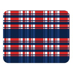 Plaid Red White Blue Double Sided Flano Blanket (Large)